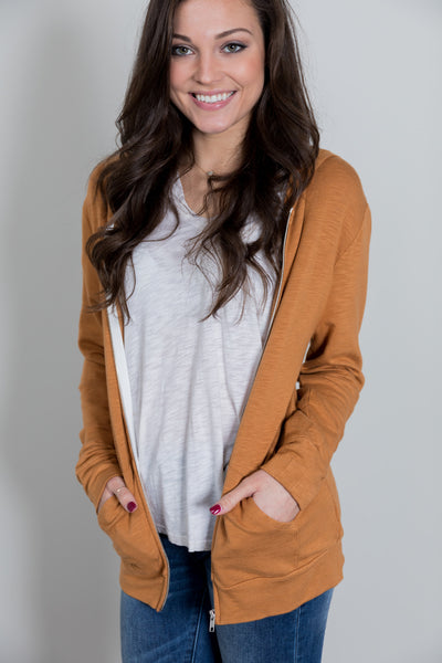 casual necessity zip up hoodie - almond