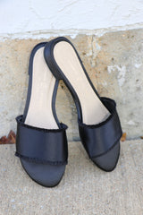 pattie black satin sandals