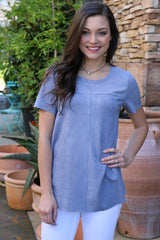 summer catch suede top-slate blue