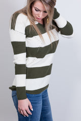 day at the races striped top-olive