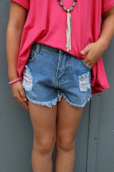 girls distressed shorts