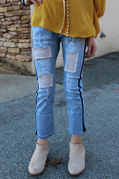 girls distressed patch work jeans