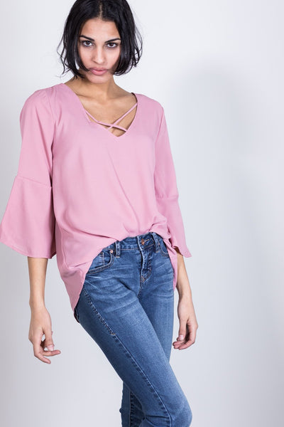 afternoon tea bell sleeve top-rose