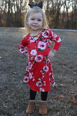 smell the roses toddler dress