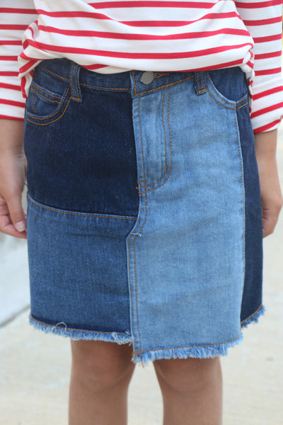perfect patch denim skirt