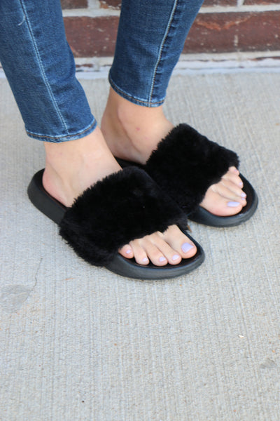 lust for life fur slipons - black