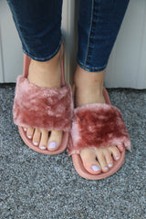 lust for life fur slipons - blush