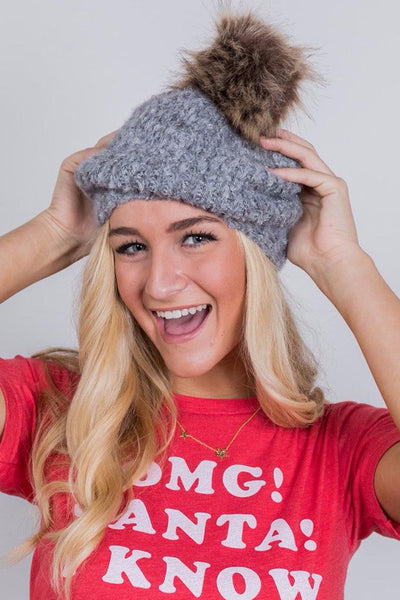 so fuzzy pom pom hat - grey