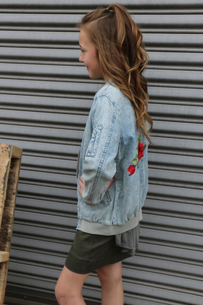 denim bomber jacket with embroidery