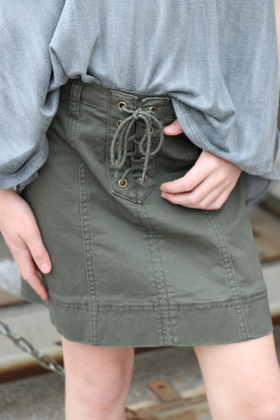 army girl lace-up skirt