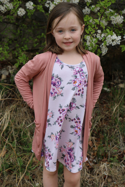 on to spring girls cardi-dusty pink
