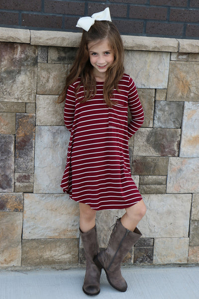 striped little thang girls dress - burgundy