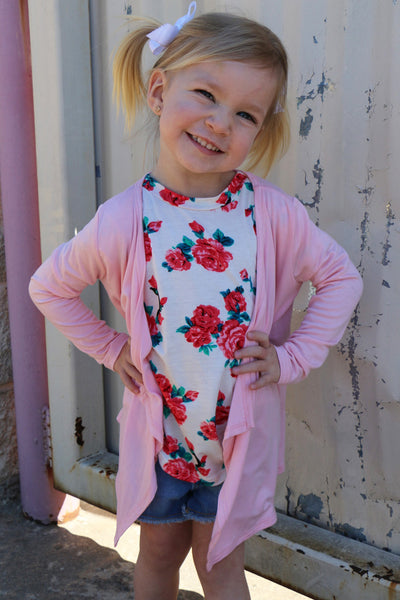 pretty in pink toddler cardi