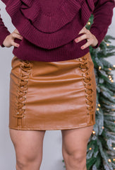holiday cheer leather skirt-camel