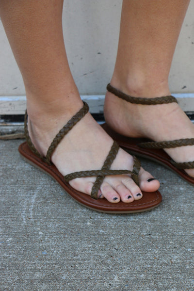 olive braid sandal