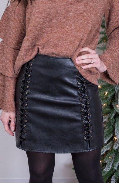 holiday cheer leather skirt-black