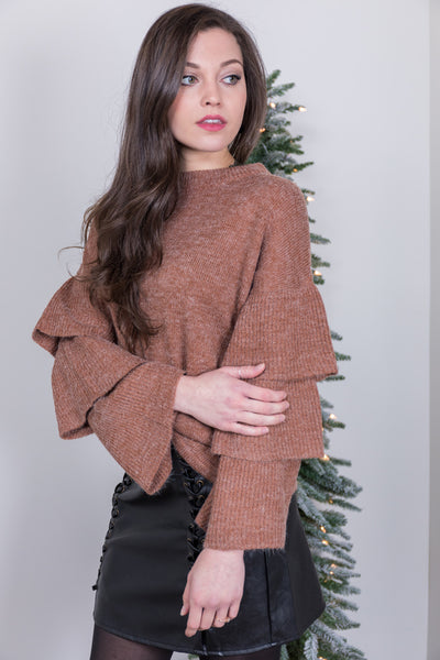 ruffled sleeves camel sweater
