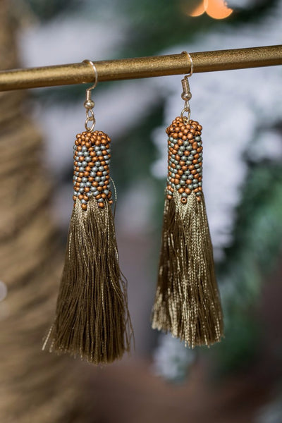 alm earring - olive