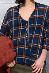 plaid in style top - navy