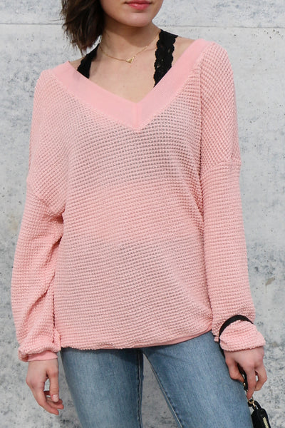 night at home knit top - blush