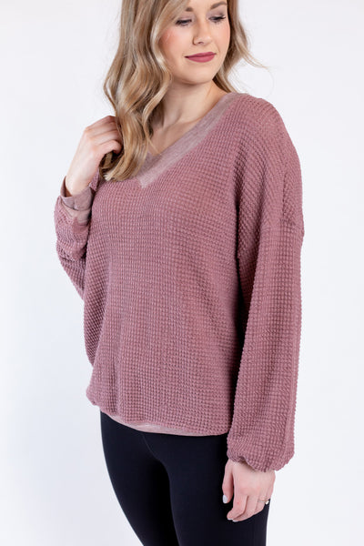 night at home knit top - maroon