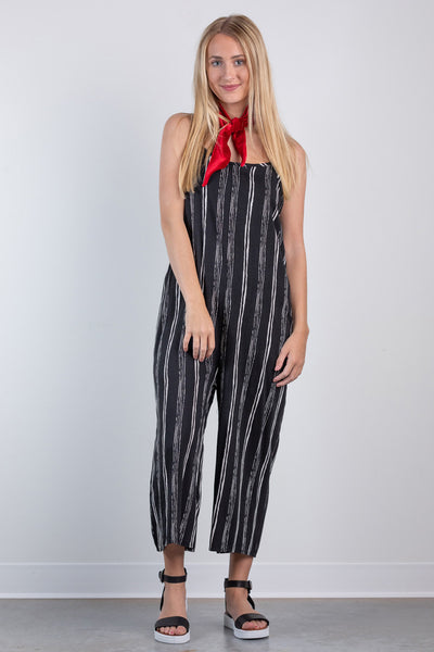 up your game striped jumpsuit