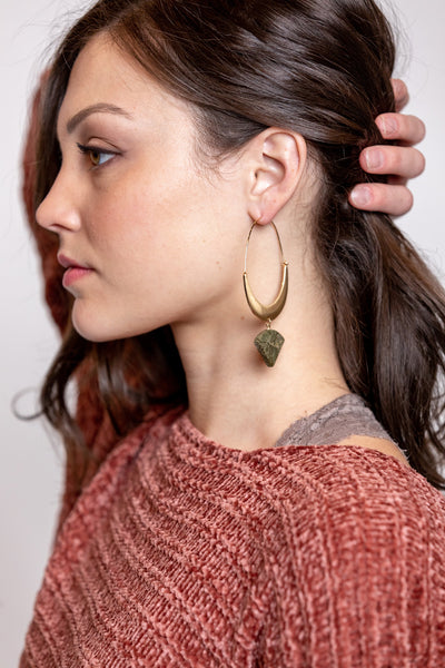 threader hoop earrings with natural stone-olive