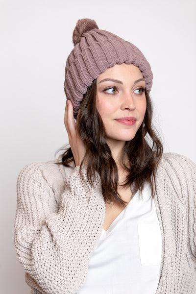 chenille threads beanie with pom pom-red bean
