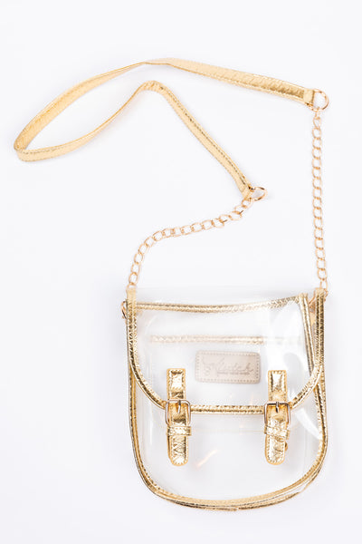 clear saddle clutch-gold