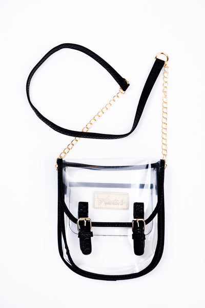 clear saddle clutch-black