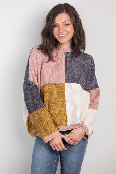 coming home color block sweater
