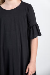 basic bell sleeve dress-black