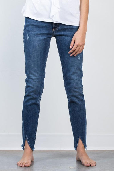 destroyed front slit by just black denim