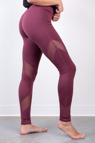 criss cross mesh leggings - plum
