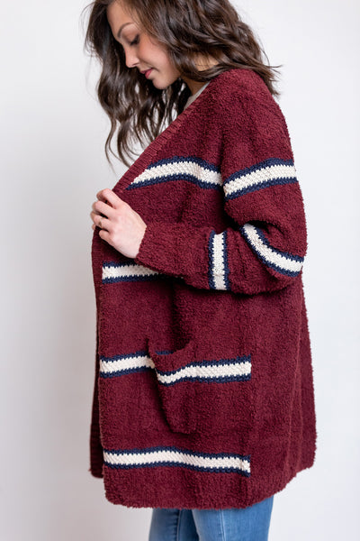 dove hollow striped cardigan