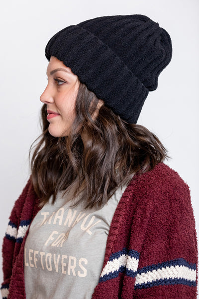 chenille beanie with cuff-black