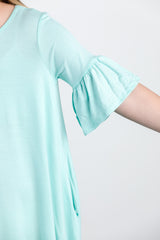 basic bell sleeve dress-mint