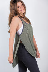 out for lunch olive stripe tank