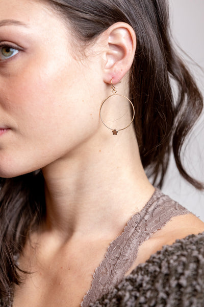 dainty star hoop earrings-gold