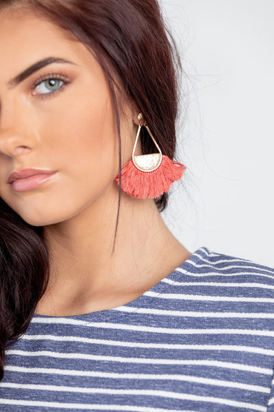cully earring - coral