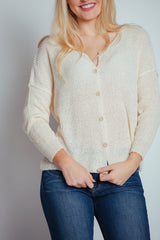 white foam latte button-up top