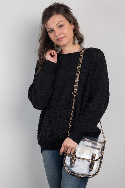 all warm and fuzzy sweater-black