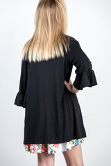 girls ruffle cardi-black