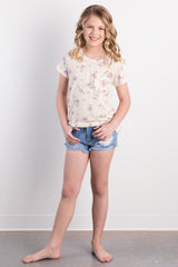 lemon ruffled pocket tee
