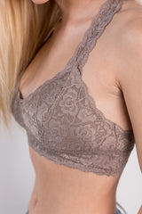 lace racerback padded bralette - cocoa