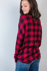 fall statement plaid top-red