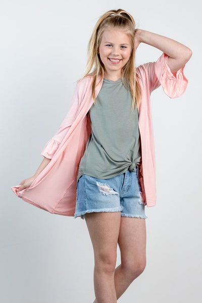 girls ruffle cardi-blush
