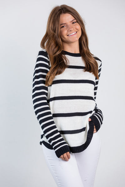 stripe mix crew neck sweater
