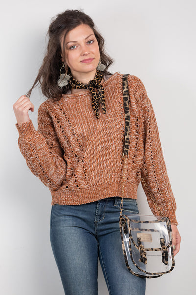 october morning cropped cable sweater