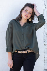 go with class button down top-army
